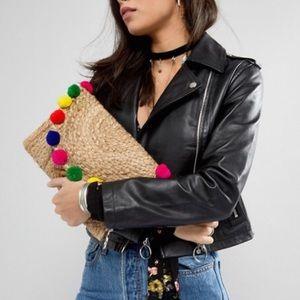 America & Beyond Handmade Pom Pom Beach Clutch Bag